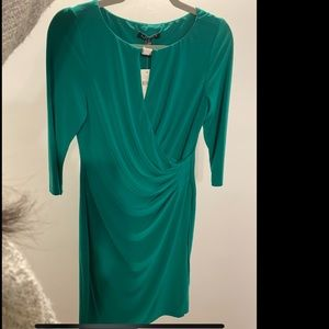 Green dress great for cocktail parties.